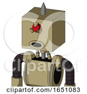 Army Tan Automaton With Box Head And Round Mouth And Angry Cyclops Eye And Spike Tip
