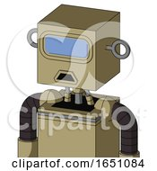 Army Tan Automaton With Box Head And Sad Mouth And Large Blue Visor Eye
