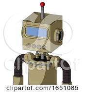 Army Tan Automaton With Box Head And Pipes Mouth And Large Blue Visor Eye And Single Led Antenna