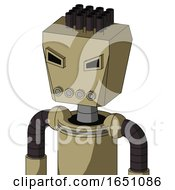 Army Tan Automaton With Box Head And Pipes Mouth And Angry Eyes And Pipe Hair