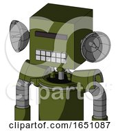 Army Green Automaton With Box Head And Keyboard Mouth And Black Visor Cyclops