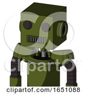 Army Green Automaton With Box Head And Square Mouth And Two Eyes