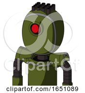 Army Green Automaton With Bubble Head And Cyclops Eye And Pipe Hair