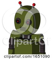 Army Green Automaton With Bubble Head And Speakers Mouth And Black Glowing Red Eyes And Double Led Antenna