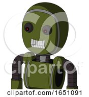Army Green Automaton With Bubble Head And Teeth Mouth And Red Eyed