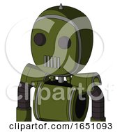 Army Green Automaton With Bubble Head And Vent Mouth And Two Eyes And Spike Tip