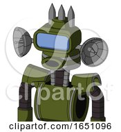 Army Green Automaton With Cone Head And Round Mouth And Large Blue Visor Eye And Three Spiked