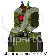 Army Green Automaton With Cube Head And Speakers Mouth And Cyclops Eye And Wire Hair