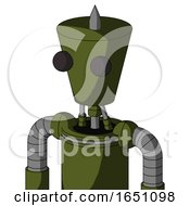 Army Green Automaton With Cylinder Conic Head And Two Eyes And Spike Tip