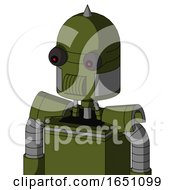 Army Green Automaton With Dome Head And Speakers Mouth And Red Eyed And Spike Tip