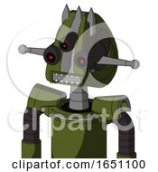 Army Green Automaton With Droid Head And Square Mouth And Three Eyed And Three Spiked