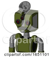 Army Green Automaton With Mechanical Head And Square Mouth And Three Eyed And Radar Dish Hat