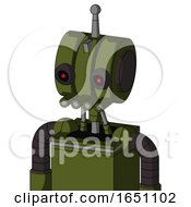 Army Green Automaton With Multi Toroid Head And Pipes Mouth And Black Glowing Red Eyes And Single Antenna