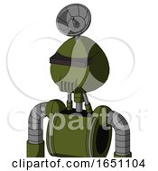 Army Green Automaton With Rounded Head And Speakers Mouth And Black Visor Cyclops And Radar Dish Hat