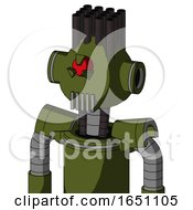Army Green Automaton With Rounded Head And Vent Mouth And Angry Cyclops Eye And Pipe Hair