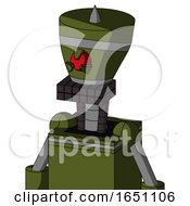 Army Green Automaton With Vase Head And Keyboard Mouth And Angry Cyclops Eye And Spike Tip