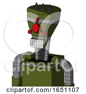 Army Green Automaton With Vase Head And Teeth Mouth And Cyclops Compound Eyes And Three Dark Spikes