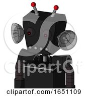 Black Automaton With Box Head And Pipes Mouth And Red Eyed And Double Led Antenna