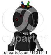 Black Automaton With Bubble Head And Dark Tooth Mouth And Three Eyed And Wire Hair