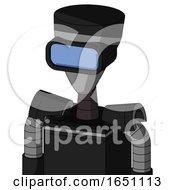 Black Automaton With Vase Head And Large Blue Visor Eye