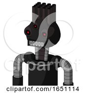 Black Automaton With Rounded Head And Square Mouth And Three Eyed And Pipe Hair