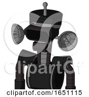 Black Automaton With Vase Head And Dark Tooth Mouth And Black Visor Eye And Single Antenna