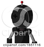 Black Automaton With Bubble Head And Round Mouth And Plus Sign Eyes And Single Led Antenna