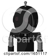 Black Automaton With Bubble Head And Speakers Mouth And Two Eyes And Single Antenna