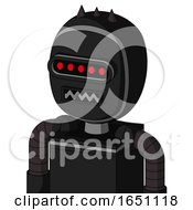Black Automaton With Bubble Head And Square Mouth And Visor Eye And Three Dark Spikes
