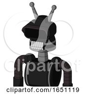Black Automaton With Cone Head And Teeth Mouth And Black Visor Eye And Double Antenna
