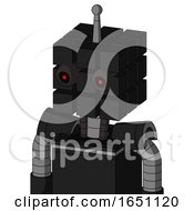 Black Automaton With Cube Head And Black Glowing Red Eyes And Single Antenna