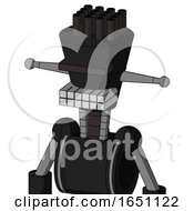 Black Automaton With Cylinder Conic Head And Keyboard Mouth And Black Visor Cyclops And Pipe Hair