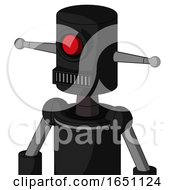Black Automaton With Cylinder Head And Square Mouth And Cyclops Eye