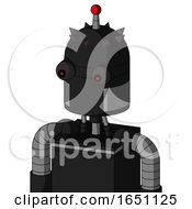 Black Automaton With Dome Head And Red Eyed And Single Led Antenna