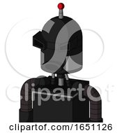 Black Automaton With Dome Head And Round Mouth And Angry Eyes And Single Led Antenna