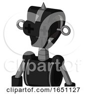 Black Automaton With Droid Head And Speakers Mouth And Plus Sign Eyes And Spike Tip