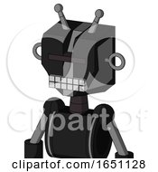 Black Automaton With Mechanical Head And Keyboard Mouth And Black Visor Cyclops And Double Antenna