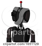 Black Automaton With Multi Toroid Head And Round Mouth And Angry Eyes And Single Led Antenna