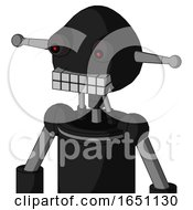 Black Automaton With Rounded Head And Keyboard Mouth And Red Eyed