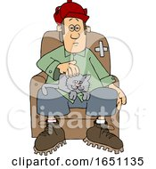Cartoon Man With A Cat On His Lap
