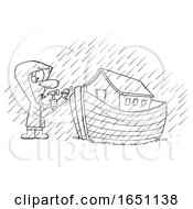 Cartoon Black And White Man Building An Ark In The Rain