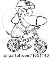 Cartoon Black And White Dog Riding A Bike