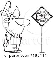 Cartoon Black And White Man Looking At A Bowtie Ban Sign