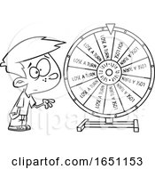 Cartoon Black And White Boy Spinning A Wheel