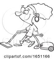 Poster, Art Print Of Cartoon Lineart Woman Vacuuming