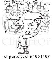 Cartoon Black And White Boy Visualizing