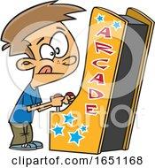 Cartoon Boy Playing An Arcade Game