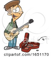 Cartoon Teen Boy Playing A Guitar On The Street
