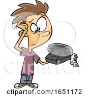 Cartoon Boy Scratching His Head And Looking At An Old Fashioned Telephone