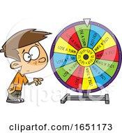 Cartoon Boy Spinning A Wheel